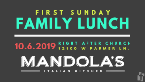 October First Sunday Family Lunch at Mandola's