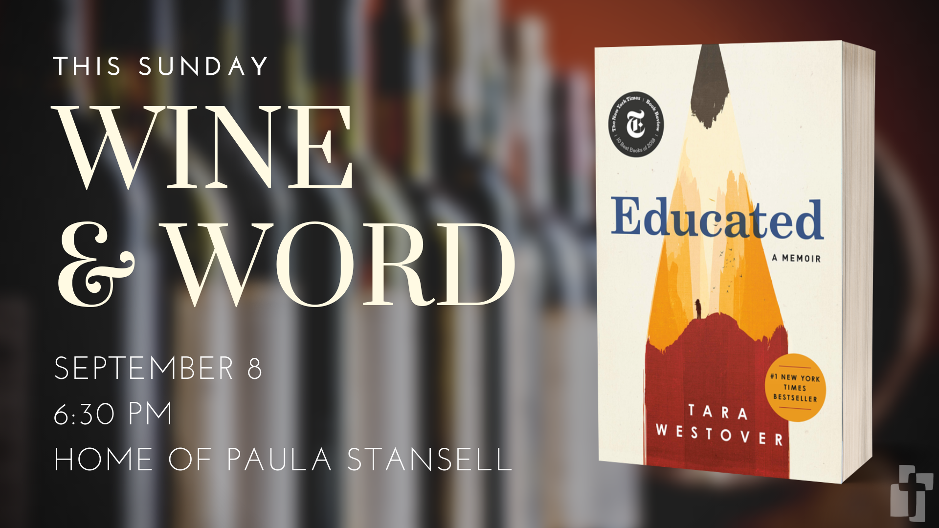 Wine & Word: Sunday, September 8 at 6:30